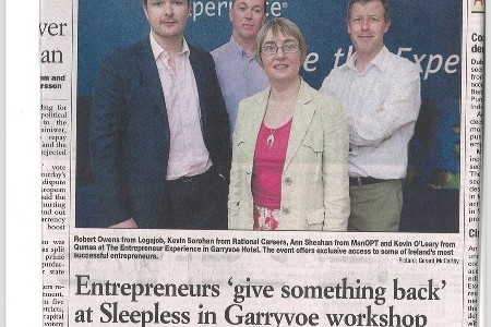 Entrepreneurs 'give something back' at Sleepless in Garryvoe workshop